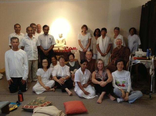 Photo no.2: Ayya Vayama Bhikkhuni, Ayya Seri Bhikkhuni and the participants at the Sala of the Hermitage, on 17th of March 2013.