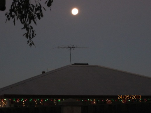 The Vesak moon as seen from Patacara BHikkhuni Hermitage on 24th of May 2013.