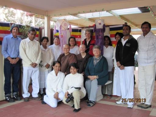 Ayya Vayama Bhikkhuni, Ayya Seri Bhikkhuni and the participants on Saturday, 25th of May 2013, the Vesak Meditation Retreat at Patacara Bhikkhuni Hermitage.