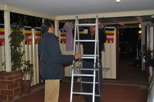 The Volunteers hung up Vesak lanterns,lights and flags in the evening of 22nd May at Patacara Bhikkhuni Hermitage.
