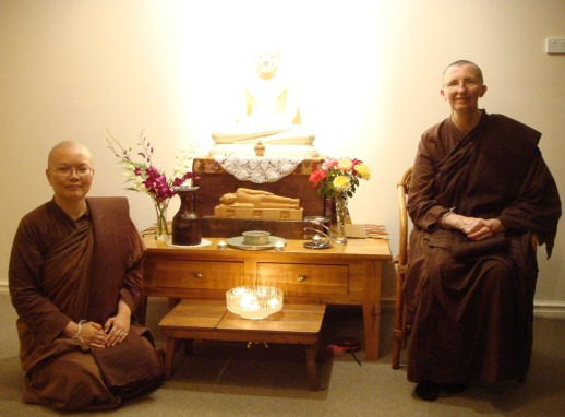 Ayya Vayama Bhikkhuni and Ayya Seri Bhikkhuni at the Sala of Patacara Bhikkhuni Hermitage on 31st December 2013 after meditation.