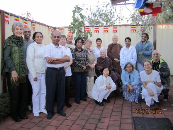 Ayya Vayama Bhikkhuni, Ayya Seri Bhikkhuni and the participants on Vesak Mediatation Day 12th of May 2014 at Patacara Bhikkhuni Hermitage. Photo by Ming