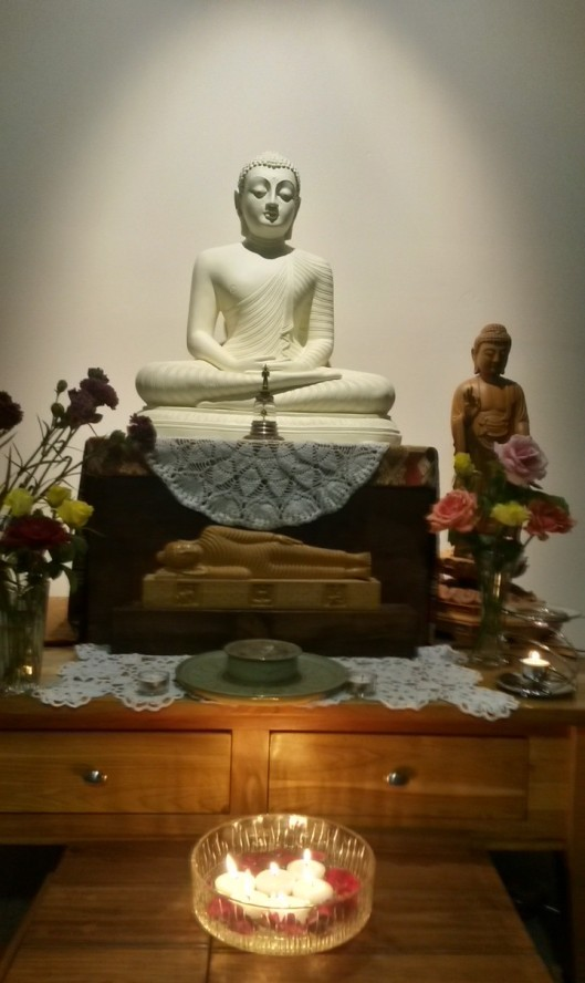The shrine in the Sala of Patacara Bhikkhuni Hermitage on the evening of 31st December 2014.