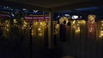 The traditional Vesak Lanterns and lights at Patacara Bhikkhuni Hermitage.