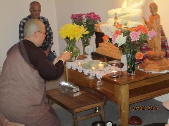 Offering of lights at the end of Vesak Meditation Day at Patacara Bhikkhuni Hermitage 2015.