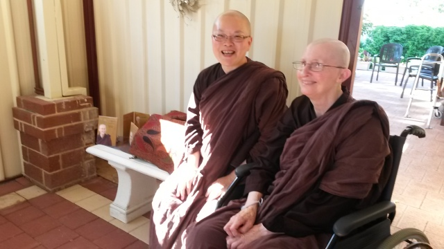 Ayya Vayama Bhikkhuni and Ayya Seri Bhikkhuni at the afternoon tea on 6th of December 2014