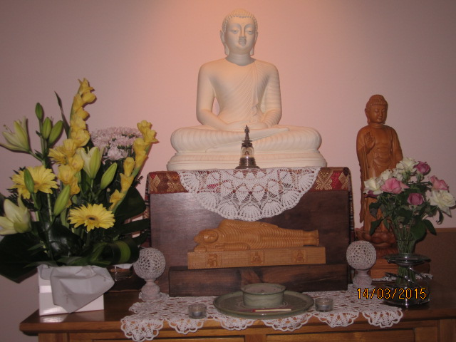 The shrine and the beautiful yellow flowers in the sala of Patacara Bhikkhuni Hermitage 15th of March 2015