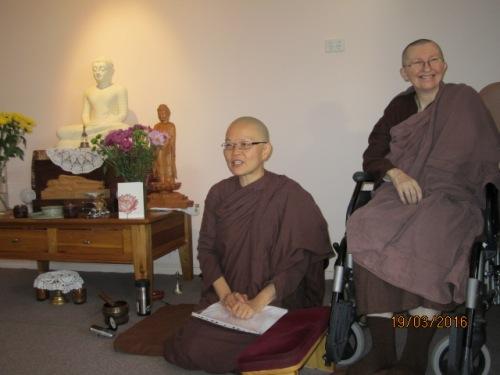 Ayya Vayama Bhikkhuni and Ayya Seri Bhikkhuni inside the Sala of Patacara Bhikkhuni Hermitage on Sunday, 19th March 2016. Photo by Ming.